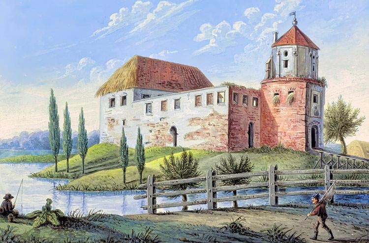 Rekonstrukcja lub stary widok zamku besiekiery